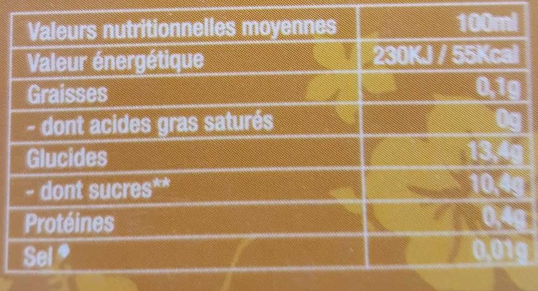 Jus Ananas - Informations nutritionnelles
