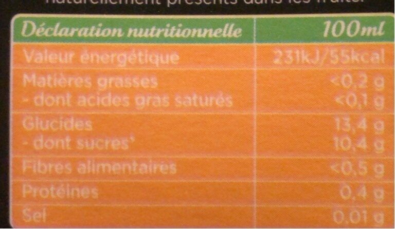 Jus Ananas - Nutrition facts - fr