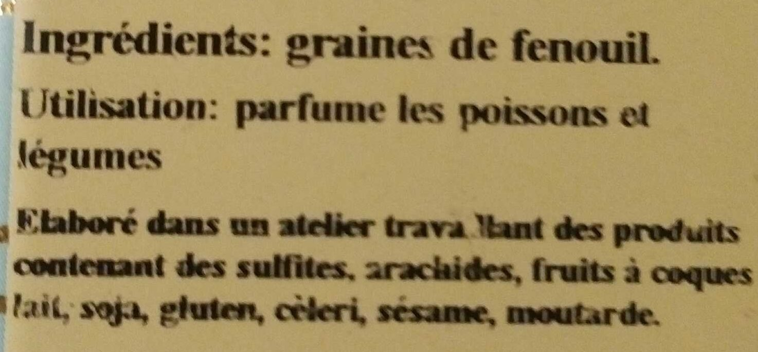 Graines de fenouil - Ingredients