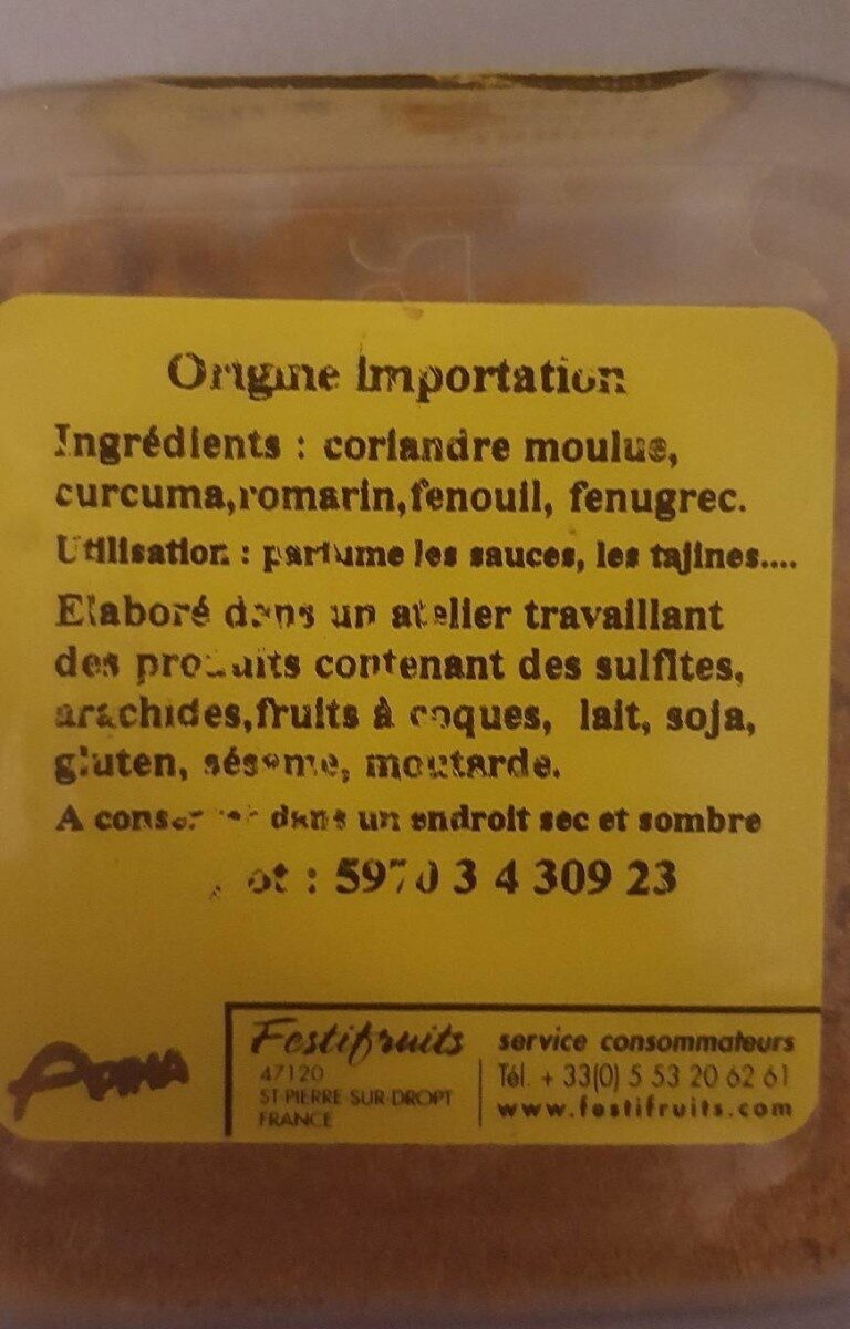 Ras el Hanout - Nutrition facts - fr