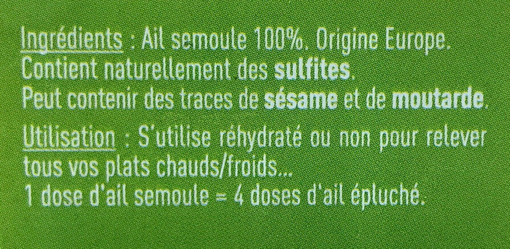 Ail semoule - Informations nutritionnelles