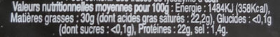 Tommette du châtelard - Informations nutritionnelles - fr
