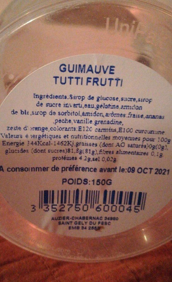 Guimauve tutti frutti - Nutrition facts - fr