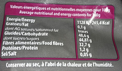 Pate Vanillee a La Reglisse - Nutrition facts - fr