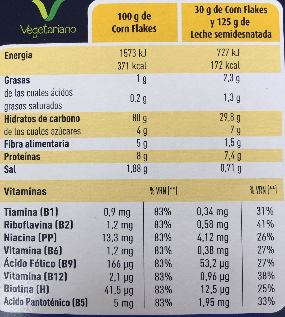 Corn Flakes - Información nutricional