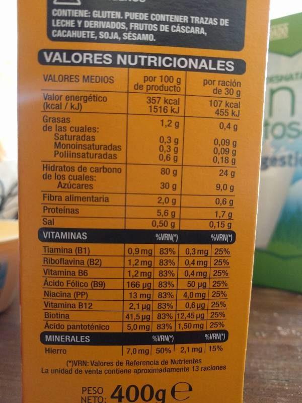 Bolas de maíz con miel - Información nutricional - es