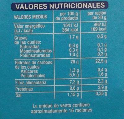 Copos de Trigo Integral y Arroz sin azúcares añadidos - Informació nutricional