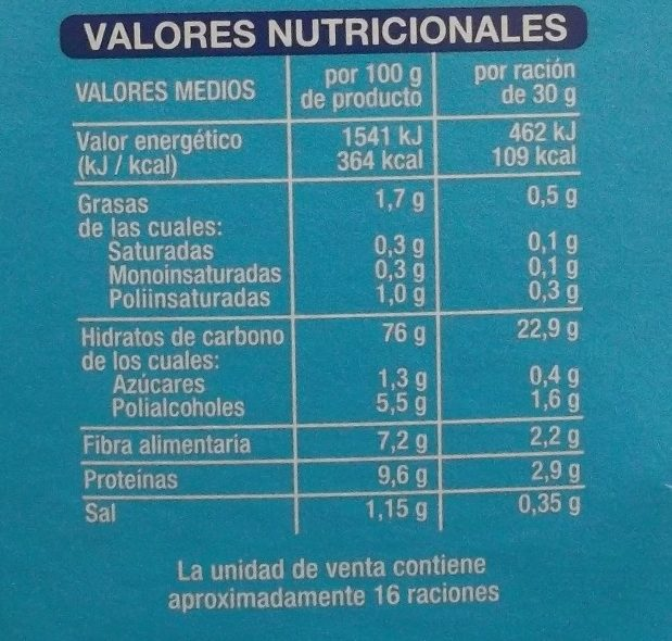 Copos de Trigo Integral y Arroz sin azúcares añadidos - Información nutricional