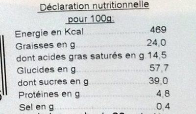 Gâteau breton fourrage framboise - Informations nutritionnelles - fr