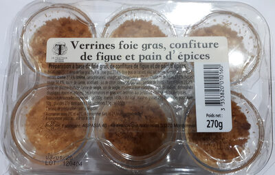 Verrines foie gras, confiture de figue et pain d'épices - Product