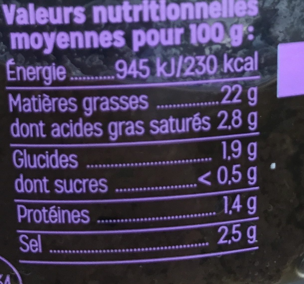 Tapenade noire - Informations nutritionnelles - fr