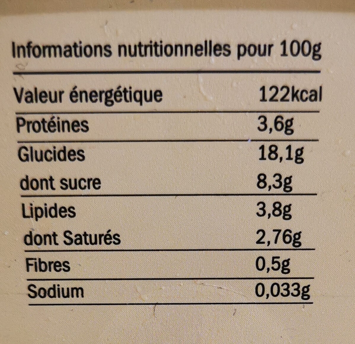 7830 gTeurgoule Cambremer - Nutrition facts
