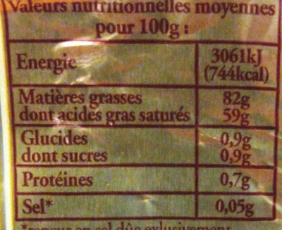 Beurre Extra-Fin Doux (82 % MG) - Nutrition facts