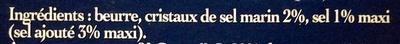 Beurre aux Cristaux de Sel de Mer de Noirmoutier - Ingrédients - fr