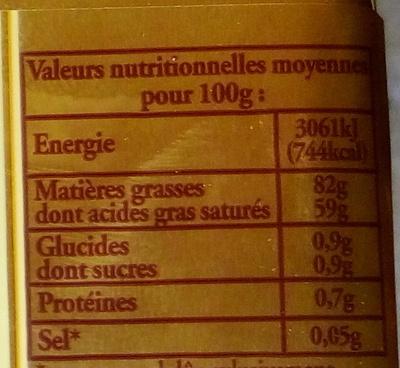 Charentes Poitou Doux AOP (82 % MG) - Voedingswaarden