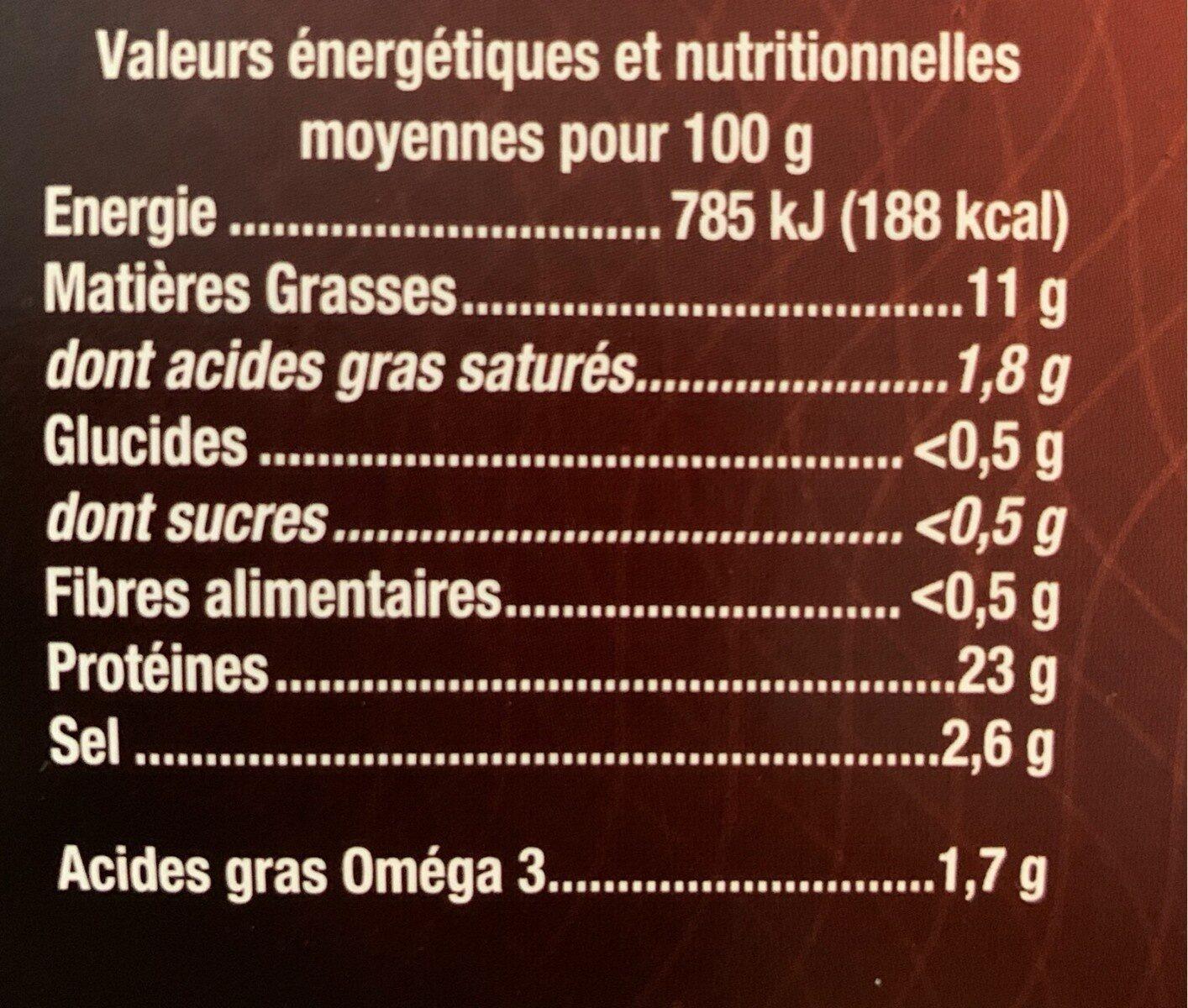 Saumon Fumé superieur Ecosse - Informations nutritionnelles - fr