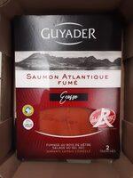 Guyader Saumon Atlantique fumé Ecosse Label Rouge la barquette de 2 tranches 80 g - Produit - fr