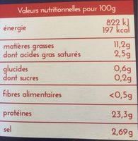Guyader Saumon Atlantique fumé Ecosse Label Rouge la barquette de 2 tranches 80 g - Informations nutritionnelles - fr