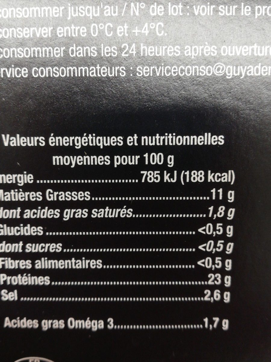 Saumon fumé Ecosse - Ingrédients - fr