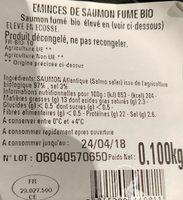 Emincé De Saumon Fumé bio - Ingrédients - fr