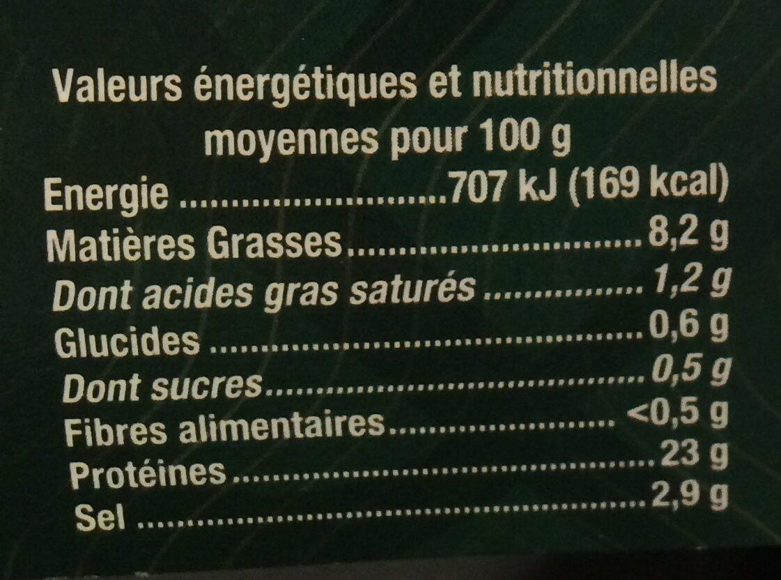 Truite fumée caractère de bretagne 4 tranches guyader - Informations nutritionnelles - fr