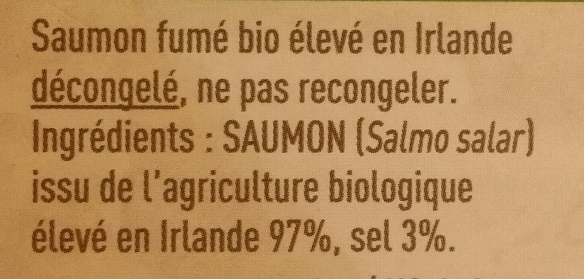 Saumon Fumé Bio Irlande - Ingredients