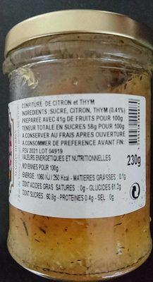 Confiture Citron et Thym - Ingrédients - fr