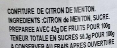 Confiture Citron de Menton - Ingredients