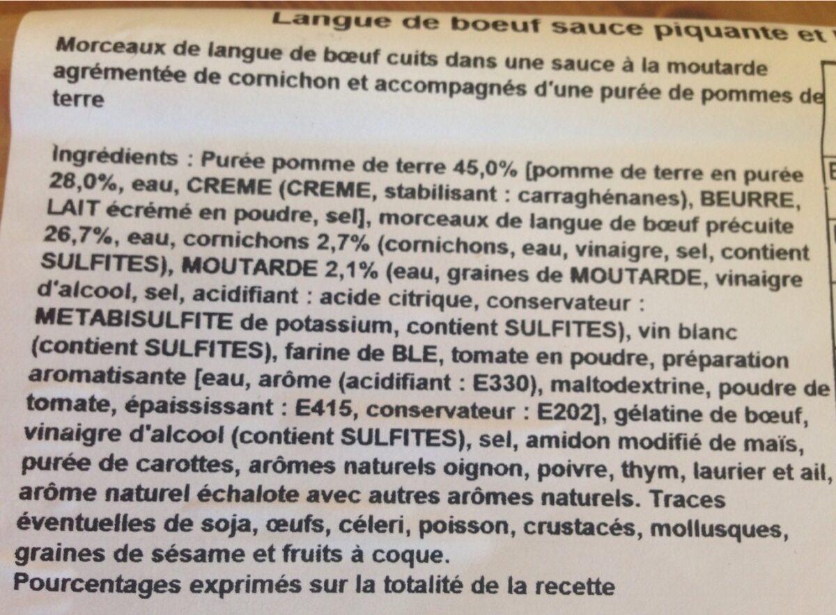 Langue de boeuf sauce piquante et purée - Ingrediënten - fr