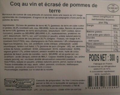 Coq au vin et écrasé de pommes de terre - Product