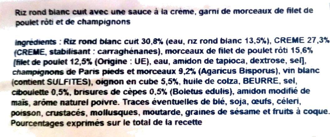 Risotto de poulet aux champignons - Ingrediënten - fr
