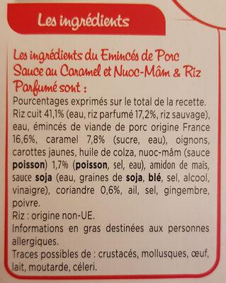 Porc au caramel - Ingredienti - fr