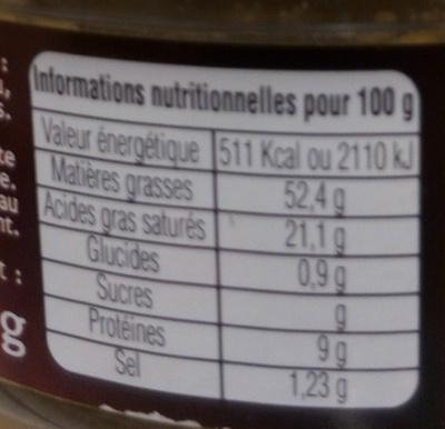 Bloc de Foie Gras de Canard des Landes - Informations nutritionnelles - fr