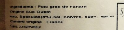 Spécialité de Bloc de Foie Gras aux Spéculoos - Ingredients