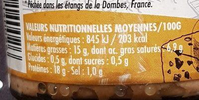 Rillettes carpe au bleu de bresse - Informations nutritionnelles - fr