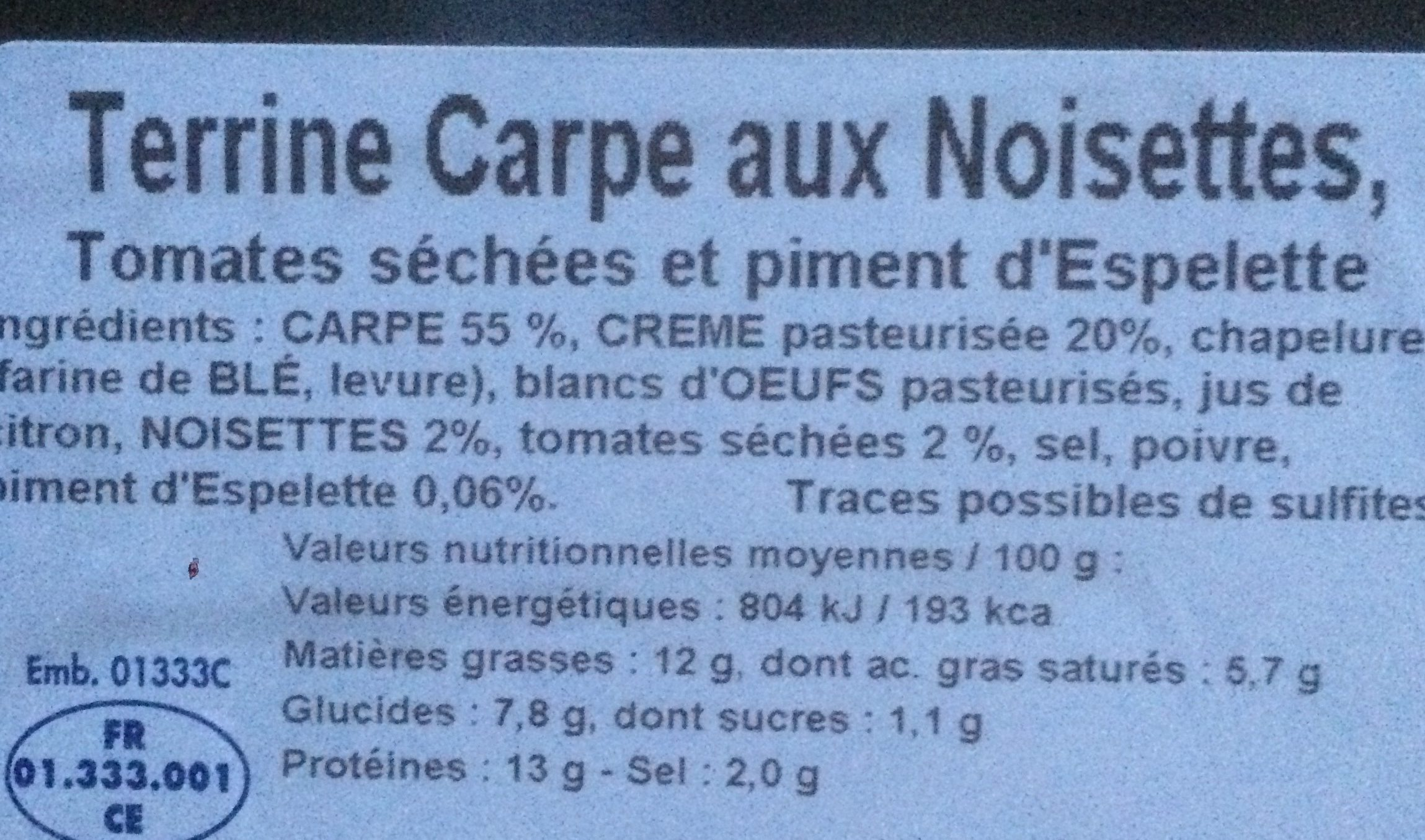 Terrine de la Dombes - Ingrédients - fr