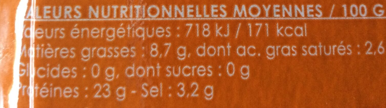 Truite fumée d'Auvergne-Rhône-Alpes - Nutrition facts - fr