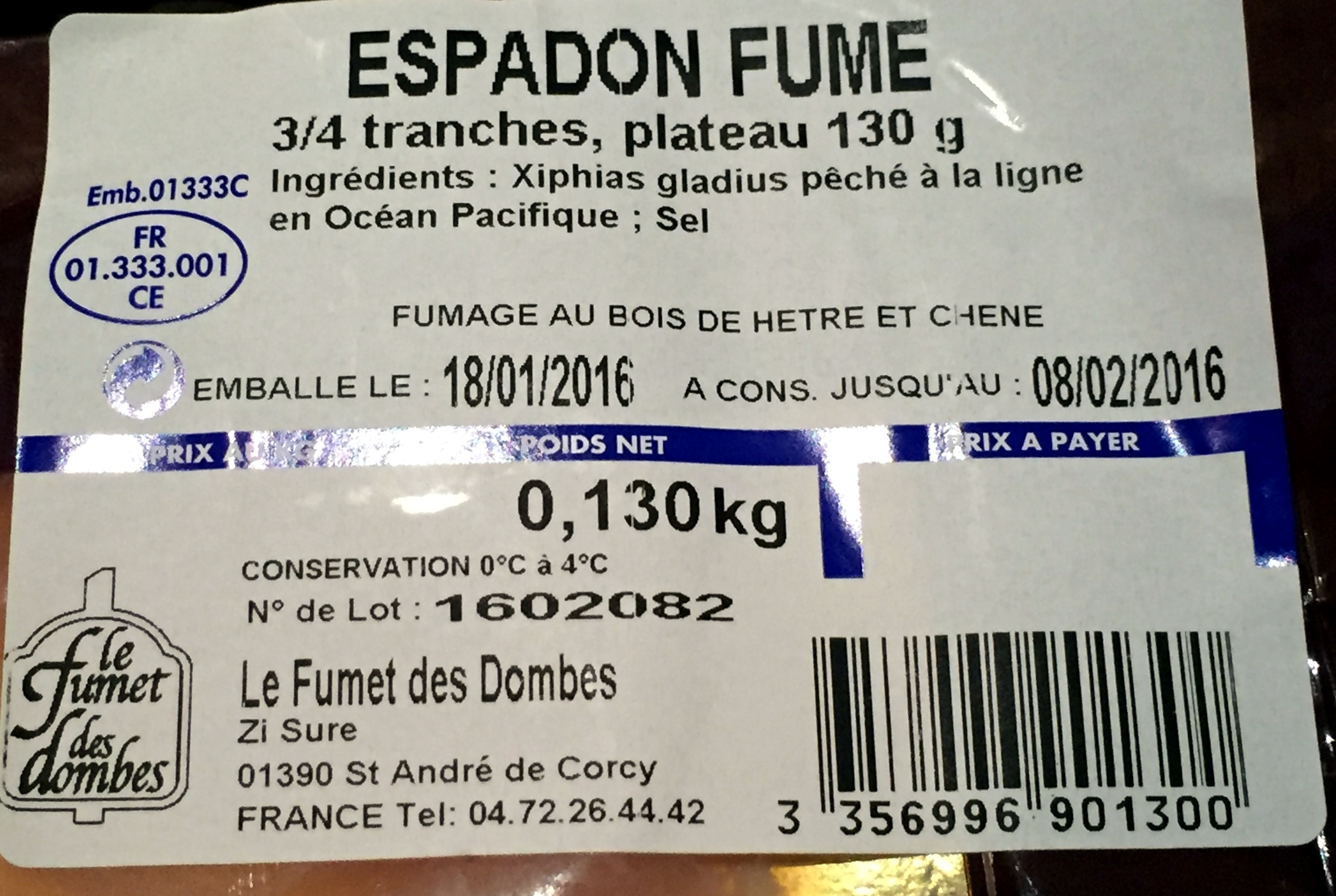 Espadon fumé - Ingredients - fr