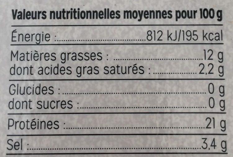 Saumon Fumé d'Écosse Bio - Informations nutritionnelles - fr