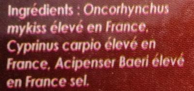 Assiette du Pêcheur Carpe Esturgeon Truite Fumés - Ingredients