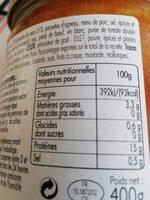 Tripoux d Auvergne - Informations nutritionnelles - fr