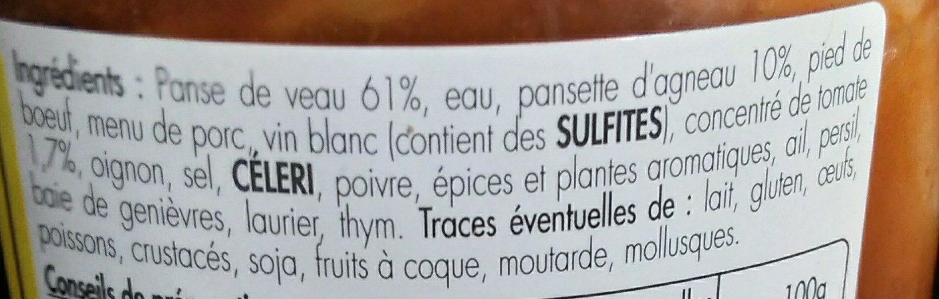 Tripoux d'Auvergne - Ingrédients