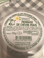 Fromage de chèvre frais (12 % MG) - Ingrédients