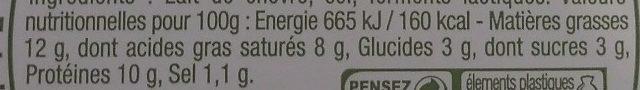 Fromage de chèvre frais (12 % MG) - Informations nutritionnelles