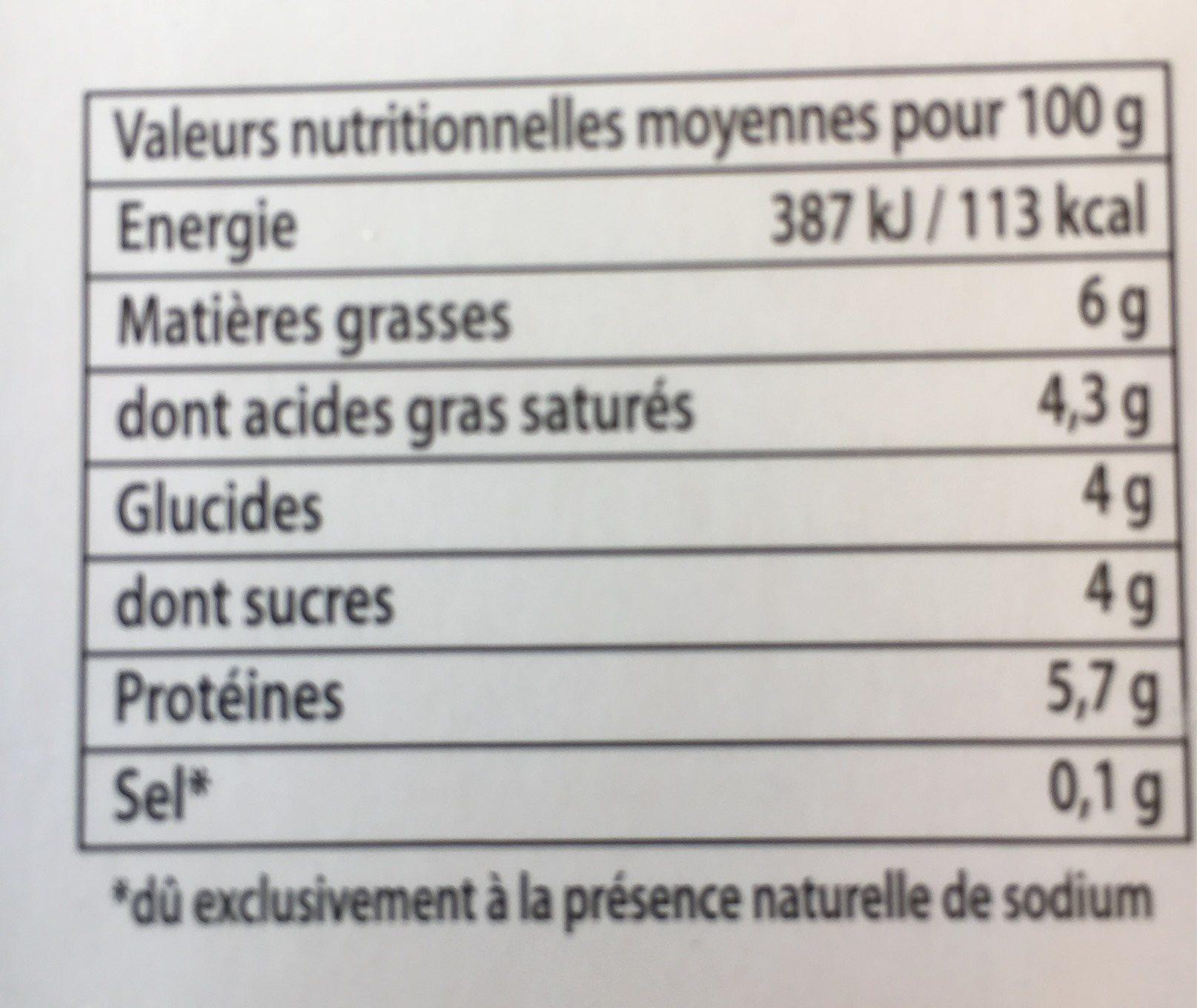Faisselle de chevre - Voedingswaarden - fr