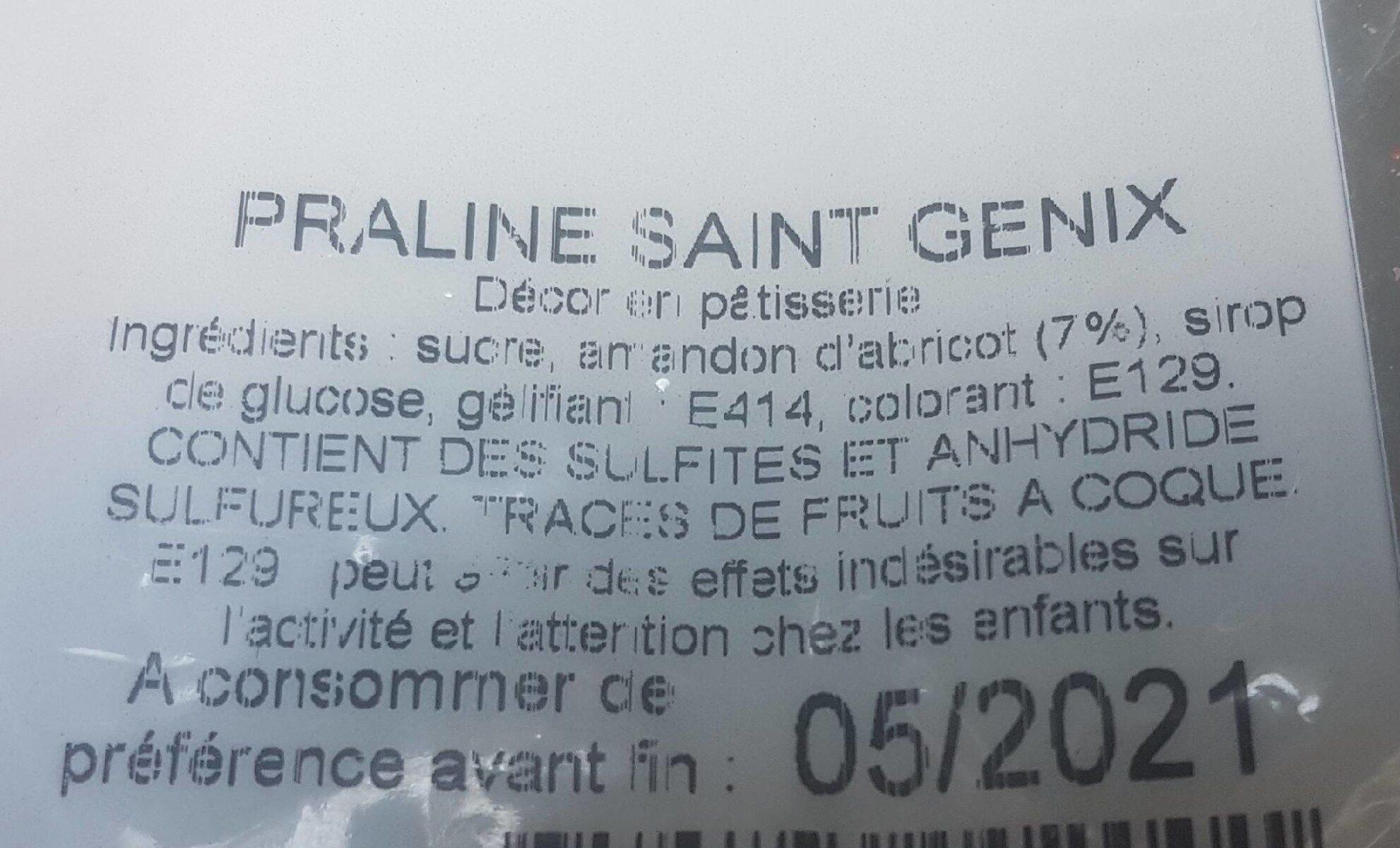 praline Saint-Genix - Voedingswaarden - fr