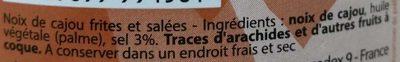 Noix de Cajou - Ingrediënten