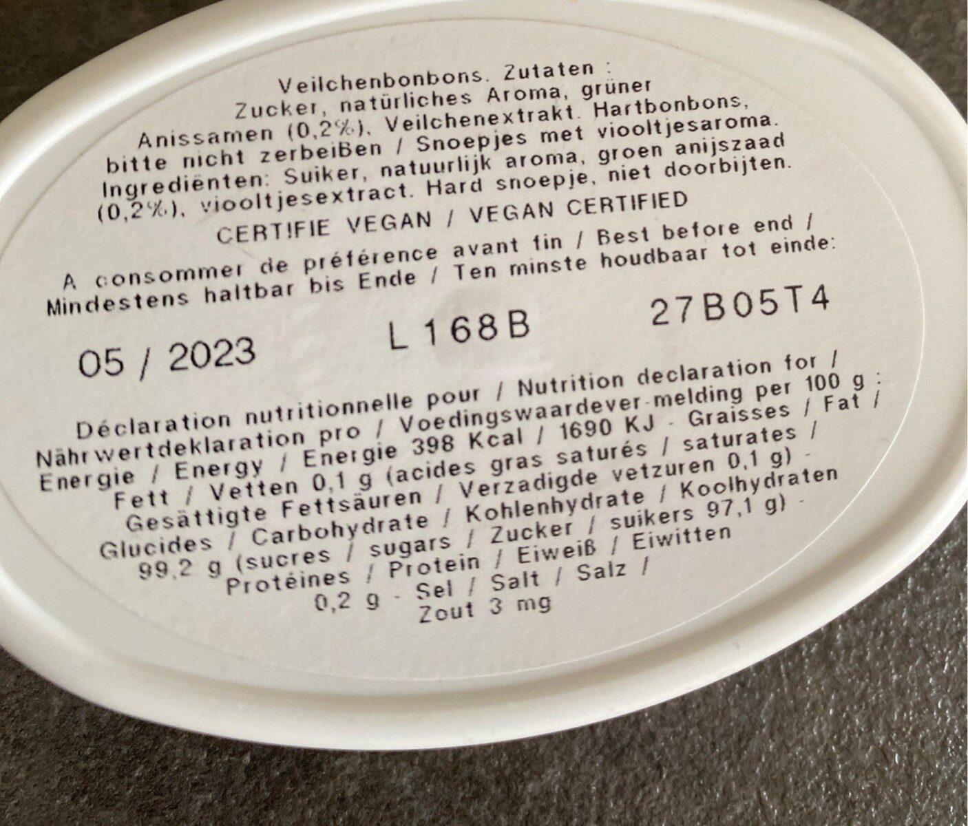 Les anis de Flavigny violette - Nutrition facts - fr