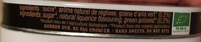 Bonbons Réglisse Bio - 50G - Anis De L'abbaye De Flavigny - Ingrédients - fr