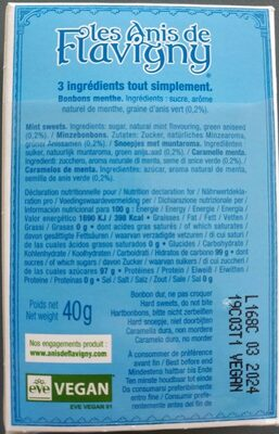 Anis de Flavigny Menthe - Nutrition facts - fr